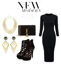 """""""black and gold"""" by alexa-barnes on Polyvore featuring WithChic, Yves Saint Laurent, BCBGMAXAZRIA, Sarah Magid, women's clothing, women's fashion, women, female, woman and misses"""