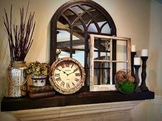 rustic mantel decor with repurposed items