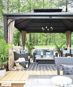 canadian-tire-dashley-gazebo-outdoor-lounge-area-and-patio-with-blue-and-white-decor-and-accessories Beautiful Homes of Instagram @citrineliving Home Bunch