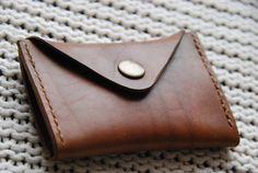 Handmade dark brown leather card/business card holder. Veg-tan