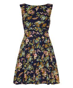 Look at this #zulilyfind! Navy & Orange Floral A-Line Dress by Iska London #zulilyfinds