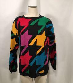 Vintage Women's Sweater Sz M Suburbans Pop Art Multicolor #Suburbans #CrewNeck