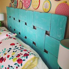 FUN  easy DIY headboard ❤I love how they hung up the circle hoops w/cute decals!!!-hang on sewing room/craft room walls❤