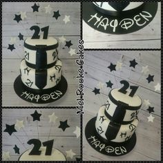21st male birthday cake with tie black and white
