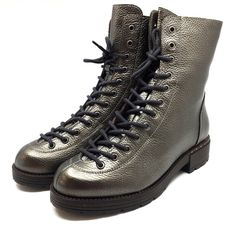 Ghete dama din piele naturala cu siret pana in varf- 193 bronz box Hiking Boots, Combat Boots, Army, Shoes, Fashion, Gi Joe, Moda, Zapatos, Military