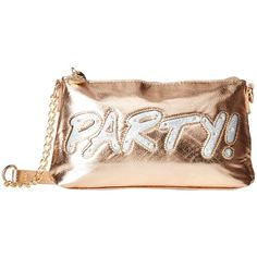 Betsey Johnson Kitch Light Up Crossbody Party (Rose Gold) Cross Body... ($31) ❤ liked on Polyvore featuring bags, handbags, shoulder bags, gold, handbags shoulder bags, betsey johnson crossbody, shoulder handbags, hand bags and shoulder strap handbags