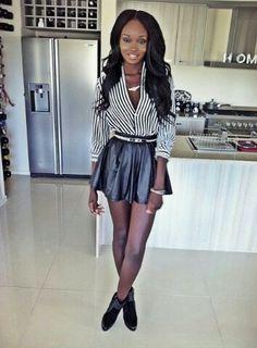 Stripes and leather skater skirt