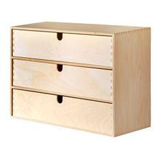 IKEA - MOPPE, Miniladekast met 3 lades, Onbehandeld hout; kan worden behandeld met olie of lazuur voor een persoonlijk tintje en een slijtvast oppervlak.