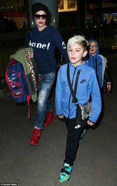 Gwen Stefani and Gavin Rossdale head back to LA with their boys Kingston, Zuma and Apollo