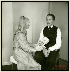 """Veronica Carlson sketching Christopher Lee on the set of """"Dracula Has Risen From The Grave""""."""