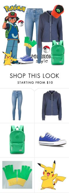 """Pokemon Trainer Ash"" by pink1princess ❤ liked on Polyvore featuring 7 For All Mankind, Topshop, Herschel Supply Co., Converse, Nintendo, York Wallcoverings, women's clothing, women's fashion, women and female"