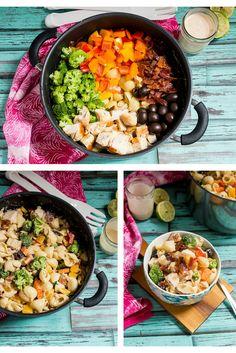 Salade de pâtes au poulet servie avec une vinaigrette au chipotle - Circulon Canada