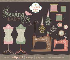 Vintage couture Lady clipart clipart dessinés à la par GingerWorld, $4.95