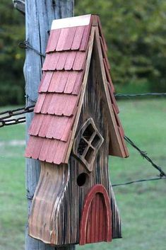 Fancy this in your garden... Old English countryside charm and character in a stylish bird abode. Ye Olde Birdhouse is handcrafted of durable cypress with shingled roof and storybook detail. Reminisce
