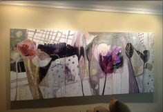 Drawn Curtains :Triptych Abstract Floral acrylic on canvas by Dorothy Ganek 50x108
