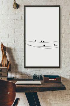 Birds black and white printable wall art digital prints illustration poster wall décor Minimalist Furniture, Minimalist Home Decor, Minimalist Interior, Minimalist Art, Minimalist Kitchen, Minimalist Living, Minimalist Bedroom, Rustic Closet, Black And White Wall Art