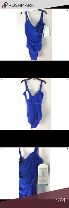 Miraclesuit  Blue Swimsuit Size 14 Underwire DD Miraclesuit  Swimsuit One Piece Size 14 Blue Underwire DD   New with Tag  Wrap style with ruching Nylon lycra  blend, see photo of label  Hidden floating lined underwire cups, unlined front and back Covered elastic straps adjust in back with metal hardware Lined front and crotch with hygienic seal Measures un-stretched  Bust 16in  Hips 14in, see photos  This is a great looking bathing suit you will love adding to your collection! Miraclesuit…
