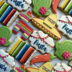 Fiesta Fiesta Sombrero and plaque design from sugarbylyndsie famous fiesta sets Chubby cactus from kaleidacuts Mexican Birthday Parties, Mexican Fiesta Party, Fiesta Theme Party, Taco Party, Sombrero Cookies, Pinata Cookies, Sweet 16, Mexican Cookies, Mexican Desserts