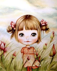 child art print with magnolias by PrintIllustrations on Etsy