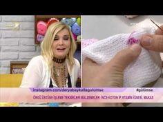 Derya Baykal'la Gülümse: Patik Yapımı - YouTube Freeform Crochet, Irish Crochet, Knit Crochet, Crochet Hats, Knitting Videos, Crochet Videos, Kids Dress Wear, Fingerless Gloves Knitted, Rose Embroidery