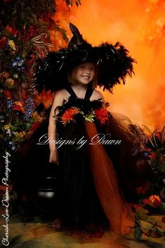 Custom Made Beautiful Witch Dress with Witch Hat by mytutuboutique