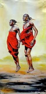 African artist Joseph Thiongo paints mostly semi-abstracts of African wildlife & the Maasai tribe. Shop here for original African paintings by 75 artists. African Drawings, African Artwork, African Art Paintings, African American Art, African Girl, Africa Art, African Artists, Black Artwork, T Art
