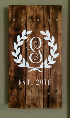 A personal favorite from my Etsy shop https://www.etsy.com/listing/245562368/monogram-pallet-sign-with-year