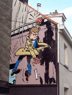 Mural of Detective Gil Jourdan by Maurice Tillieux 3d Street Art, Best Street Art, Murals Street Art, Amazing Street Art, Art Mural, Street Art Graffiti, Street Artists, Banksy, Installation Street Art