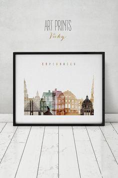 Copenhagen print, watercolor poster, Wall art, Copenhagen skyline, cities poster, Copenhagen Denmark print digital watercolor ArtPrintsVicky.