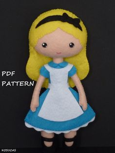 PDF sewing pattern to make a felt doll inspired in Alice.