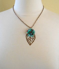 Rosebud and Copper Leaf Necklace. Recycled Soda Can Art. Embossed. AZ Tea