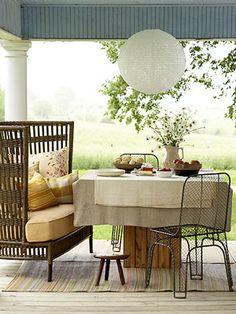 great summer porch, love the hanging lantern