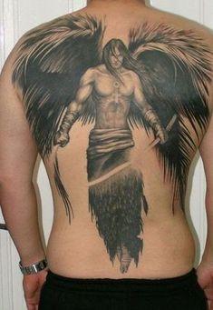 unique back tattoo for men anglel warrior