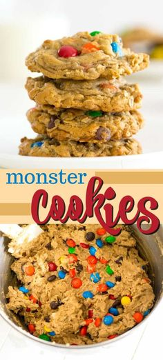 Monster Cookies are soft and chewy peanut butter chocolate chip cookies with oatmeal and colorful M&M's. These easy cookies are big on flavor and especially fun to make with kids! Quick Cookies, Homemade Cookies, Yummy Cookies, Cookies Soft, Chocolate Marshmallow Cookies, Chocolate Chip Shortbread Cookies, Chocolate Chips, Köstliche Desserts, Delicious Desserts