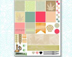 Marijuana Cannabis Theme Planner Craft Calendar Stickers
