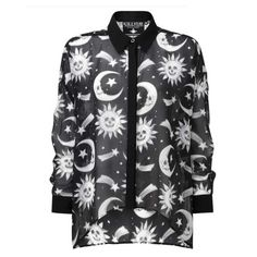 Cozmic Death transparante dames blouse met maan en zon print zwart