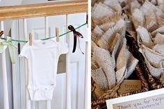 rustic outdoor baby boy shower ideas | For favors, we found onesie birdseed ornaments. If you know my cousin ...