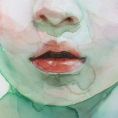"Detail of ""Surrounded by your voice"" #watercolor #lips #mouth #alicavanaugh"
