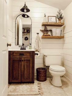 These rustic bathroom ideas will allow you to make a big impact with just a few elements. Check it now if you are a fan of rustic bathroom design! diy bathroom ideas Five Rustic Bathroom Ideas To Try At Home Downstairs Bathroom, Bathroom Wall Decor, Bathroom Lighting, Shower Bathroom, Farm House Bathroom, Bathroom Layout, Small Bathroom Redo, Bathroom Colors, Cute Bathroom Ideas