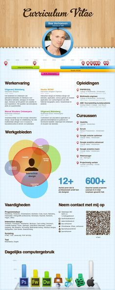 CV / Resume Bas Verhoeven (Infographic) - Interaction designer If you like this cv template. Check others on my CV template board :) Thanks for sharing! Business Resume, Resume Cv, Resume Writing, Resume Design Template, Cv Template, Cv Maker, Cv Inspiration, Visual Resume, Infographic Resume