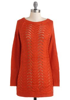 Bountiful Harvest Sweater in Pumpkin - Sheer, Red, Solid, Knitted, Casual, Long Sleeve, Fall, Mid-length