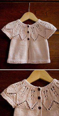 Free Knitting Pattern Source by AmazingKnit Coat Baby Cardigan Knitting Pattern Free, Baby Knitting Patterns, Knitting Stitches, Baby Patterns, Knitting For Kids, Free Knitting, Vestidos Bebe Crochet, Knit Baby Dress, Knit Baby Sweaters