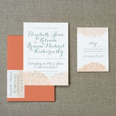 Pink, Apricot & Sage | Peonies Wedding Invitation - $140.00 : SWEET Letterpress  and  Design