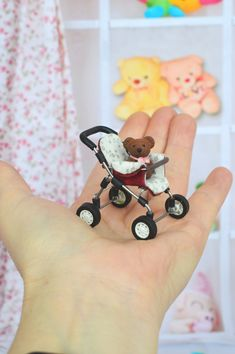 A miniature toy stroller for a doll in a scale 12 dollhouse/ Toy for dolls/ Miniature collection / A gift for a woman and a girl/ Barbie Dolls Diy, Barbie And Ken, Diy Doll, Doll Toys, Baby Dolls, Dollhouse Toys, Dollhouse Miniatures, Polymer Clay Dolls, Bear Toy