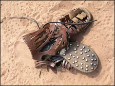 Caligae - hobnailed Roman soldier's footwear, used to break men's bones when they lay on the floor in the heat of battle. And for walking in too...