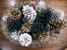 Hunter Green and Khaki Painted Pine Cones by RusticMtnGirlCrafts, $7.00