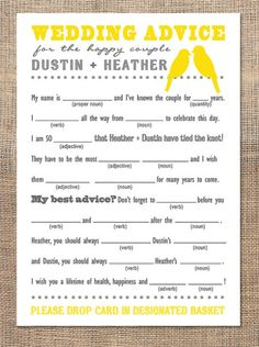 Mad Libs style guest book idea. @moxiethrift on etsy Ann Teague...cute idea for your wedding! You would get some good laughs out of it!