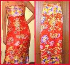"""NEW RED PAMELA FERRARI """"CIRQUE DU SOLEIL"""" SILK MAXI DRESS 6-8   $99.99"""