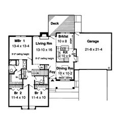 First Floor Plan of Ranch   Traditional   House Plan 20187