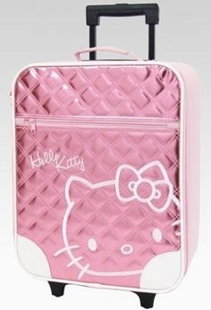 c7ffc8b3db An image of Hello Kitty Pink Rolling Luggage  Metallic Quilt